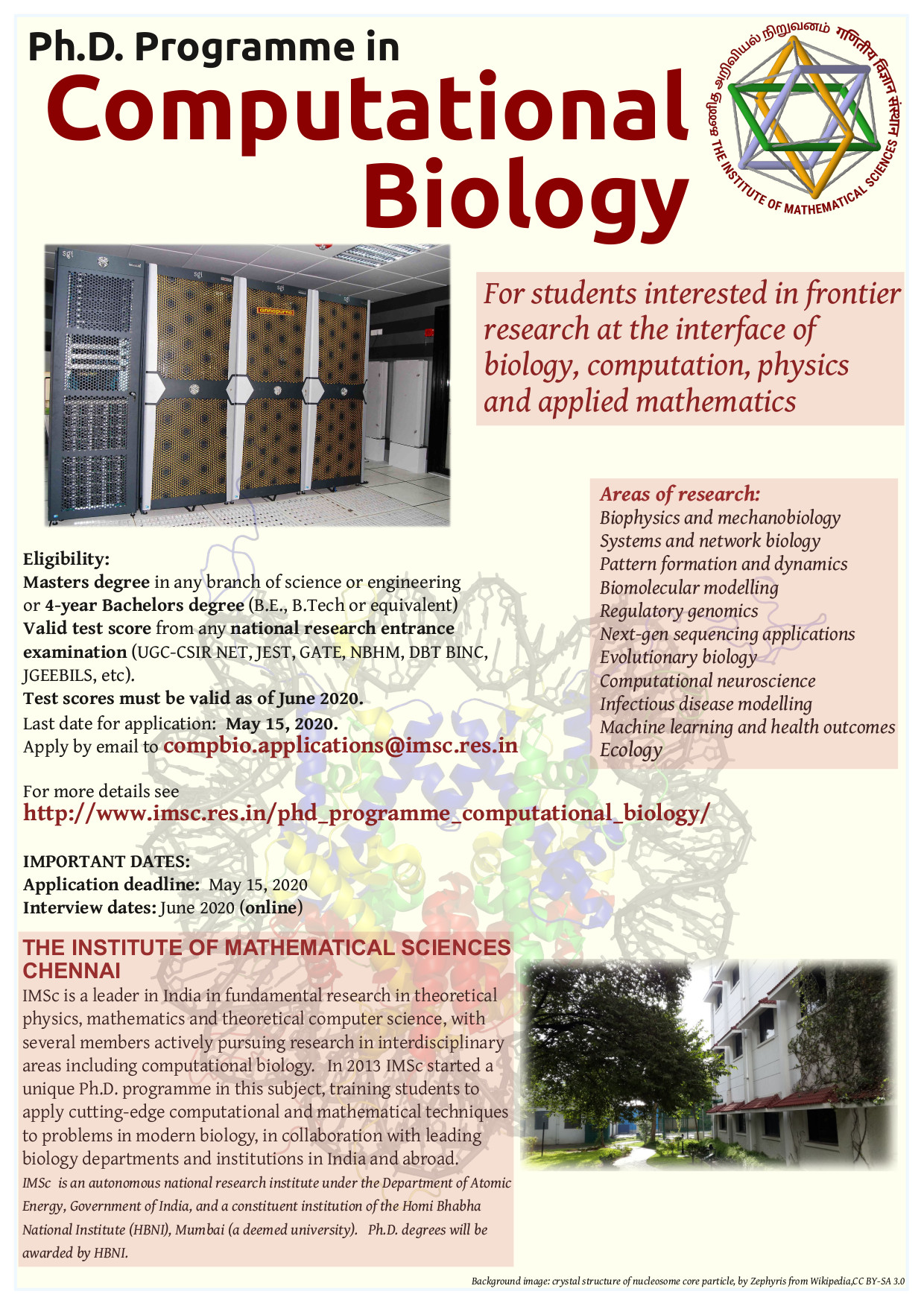 IMSc Computational Biology PhD admissions